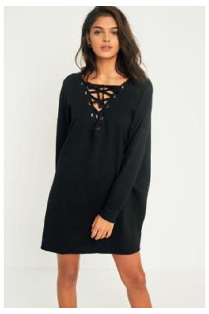 Light Before Dark Lace-Up Sweatshirt Dress, Black