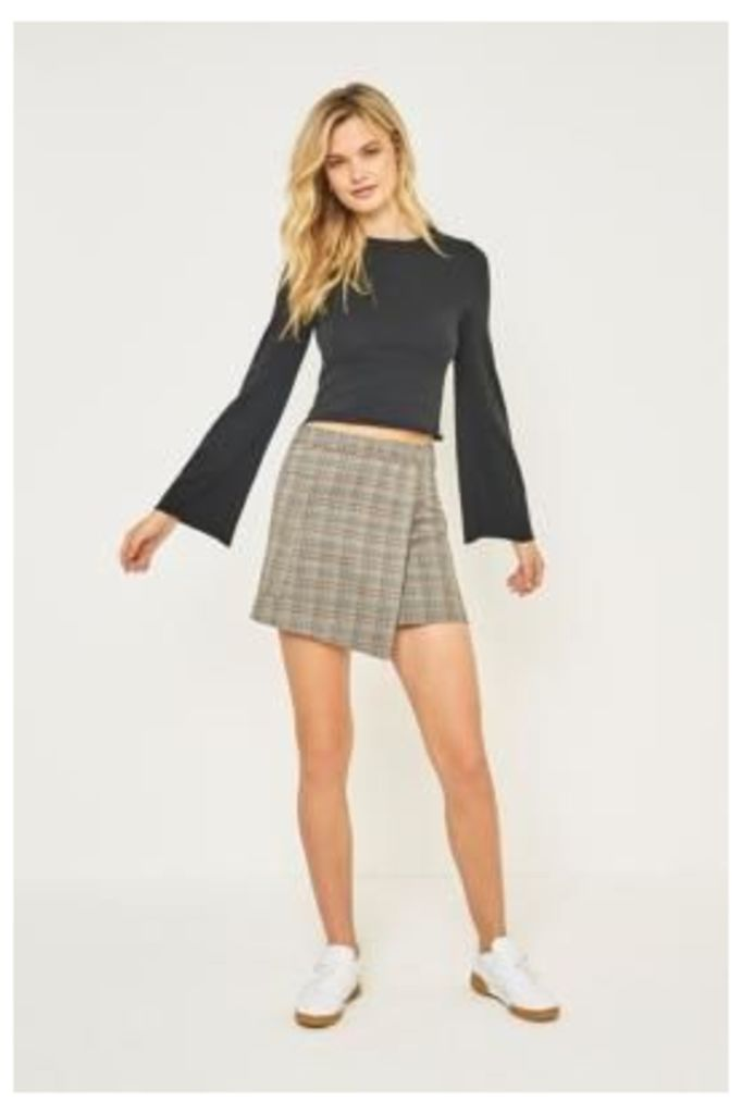 Urban Outfitters Fluted Sleeve Cropped T-Shirt, Black