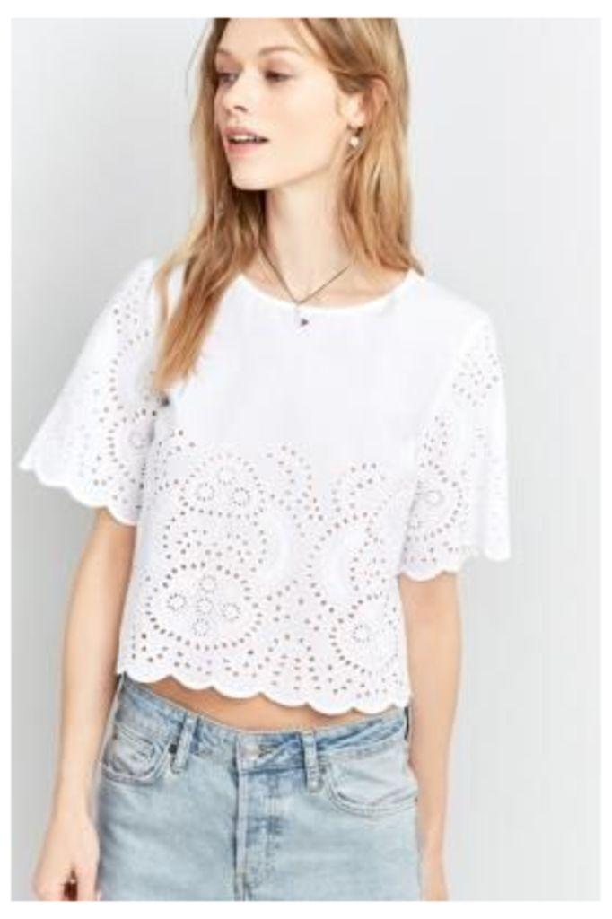 Pins & Needles Broderie Scalloped Hem Shirt, White