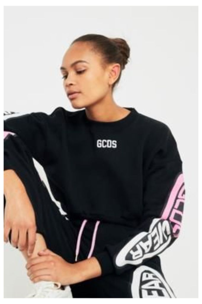 GCDS Cropped Logo Sleeve Sweatshirt, Black