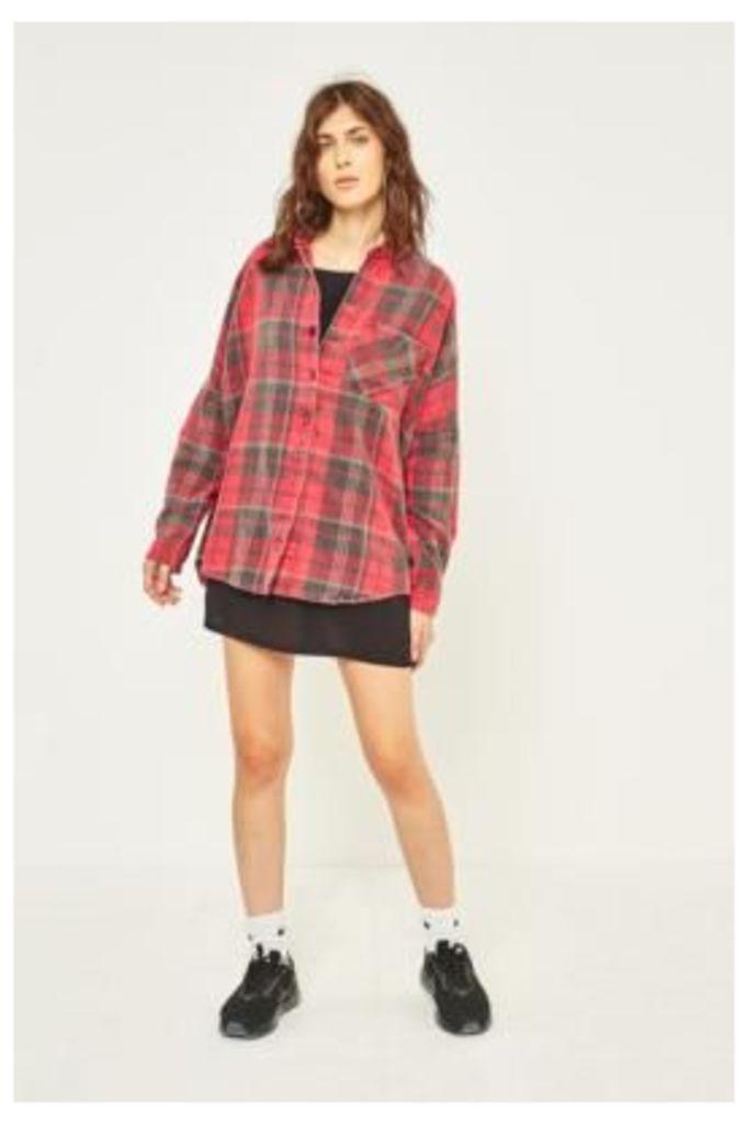 BDG Dolman Sleeve Flannel Shirt, Red