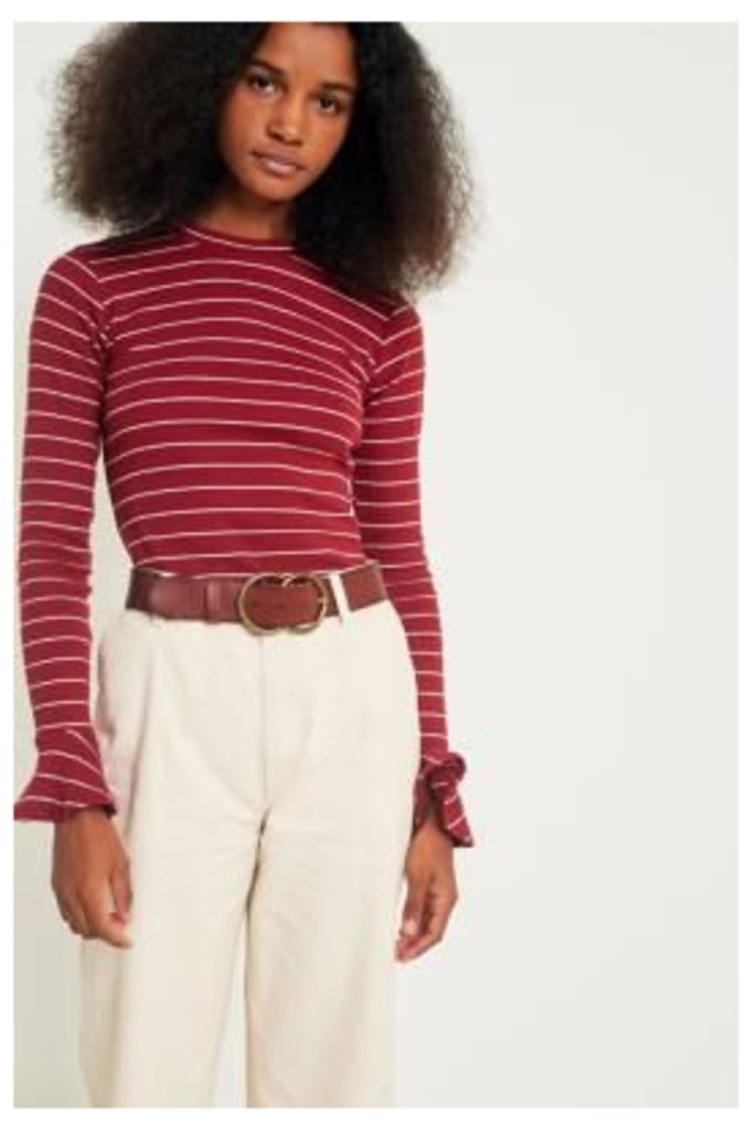 UO Striped Ribbed Trumpet Sleeve Top, Maroon