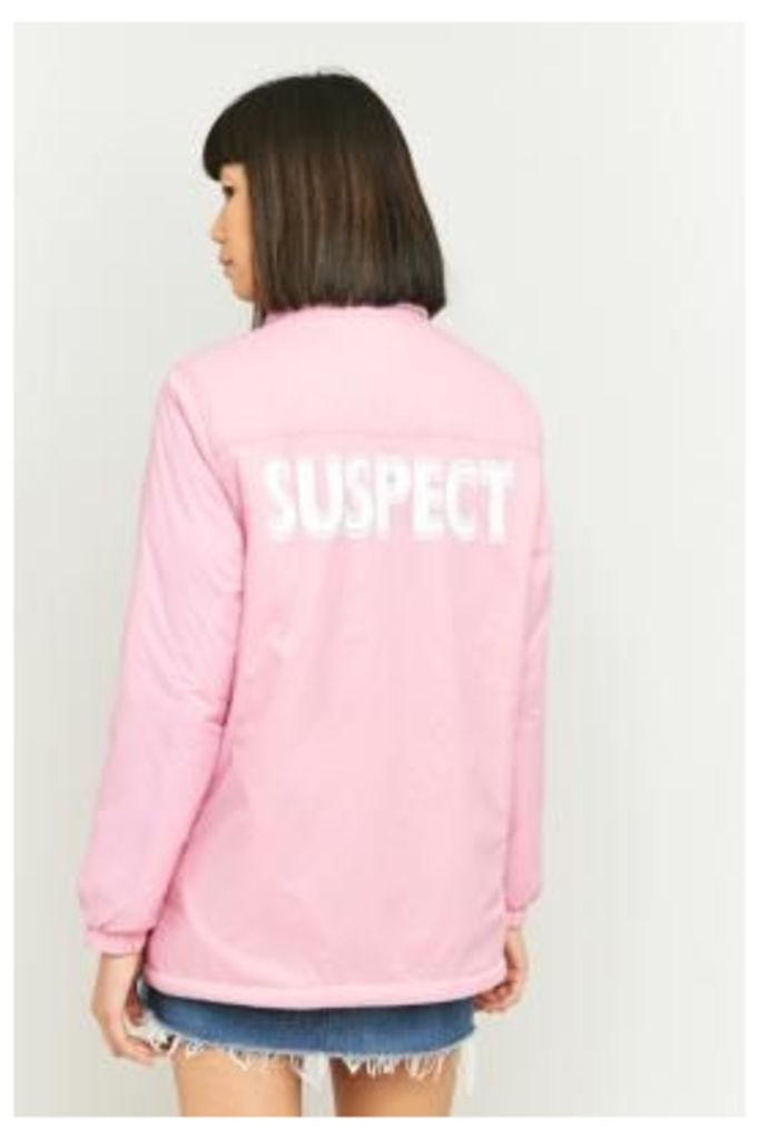 Light Before Dark Borg-Lined Graphic Pink Coach Jacket, Pink