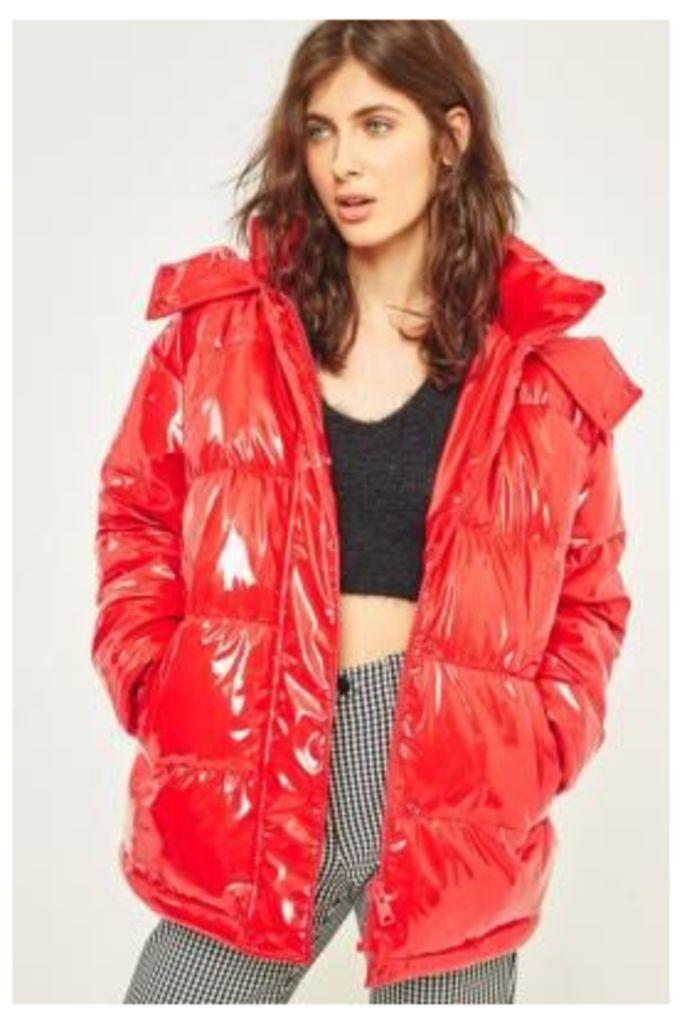 Light Before Dark Red Vinyl Hooded Puffer Jacket, Red