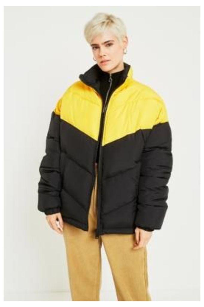 Light Before Dark Colour-Blocked Chevron Puffer Jacket, Black