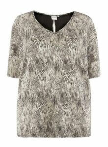 Womens Juna Rose Curve Metallic Foil Blouse, Metallic
