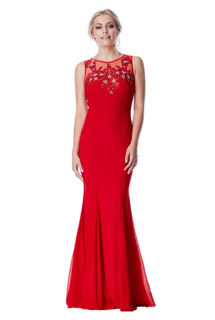 Embellished Chiffon Maxi Dress - Red