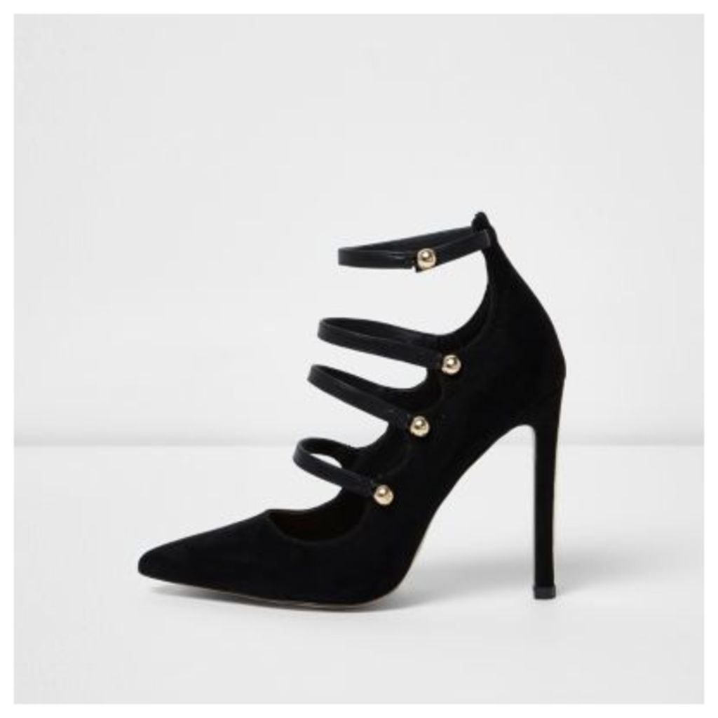 River Island Womens Black strappy front court shoes