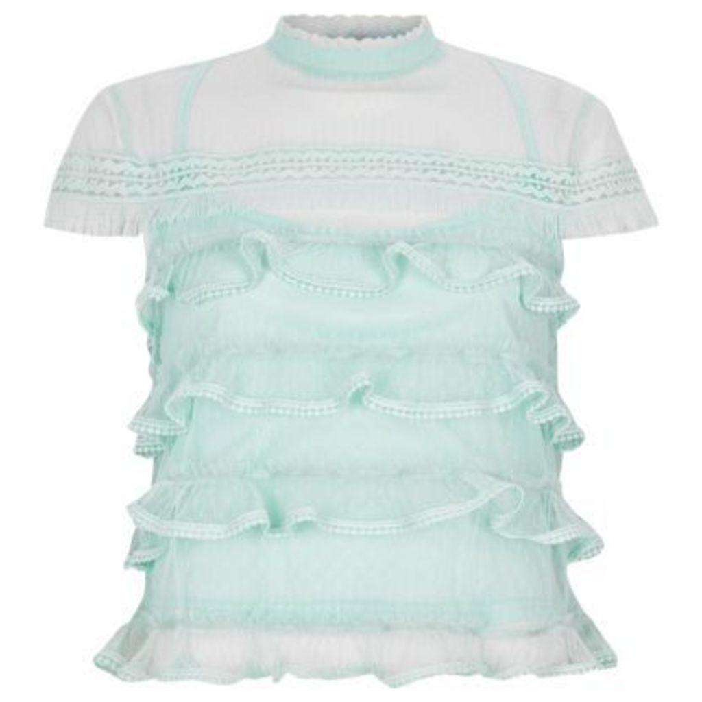 River Island Womens Light Green mesh frill high neck top