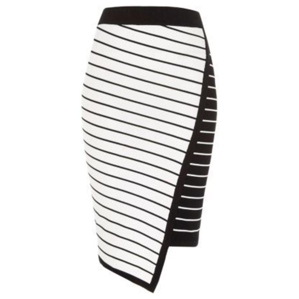River Island Womens White asymmetric stripe midi pencil skirt