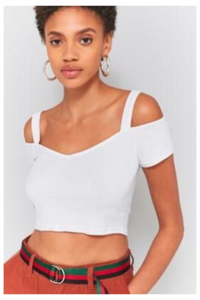 Pins & Needles Bardot Cold Shoulder Crop Top, White