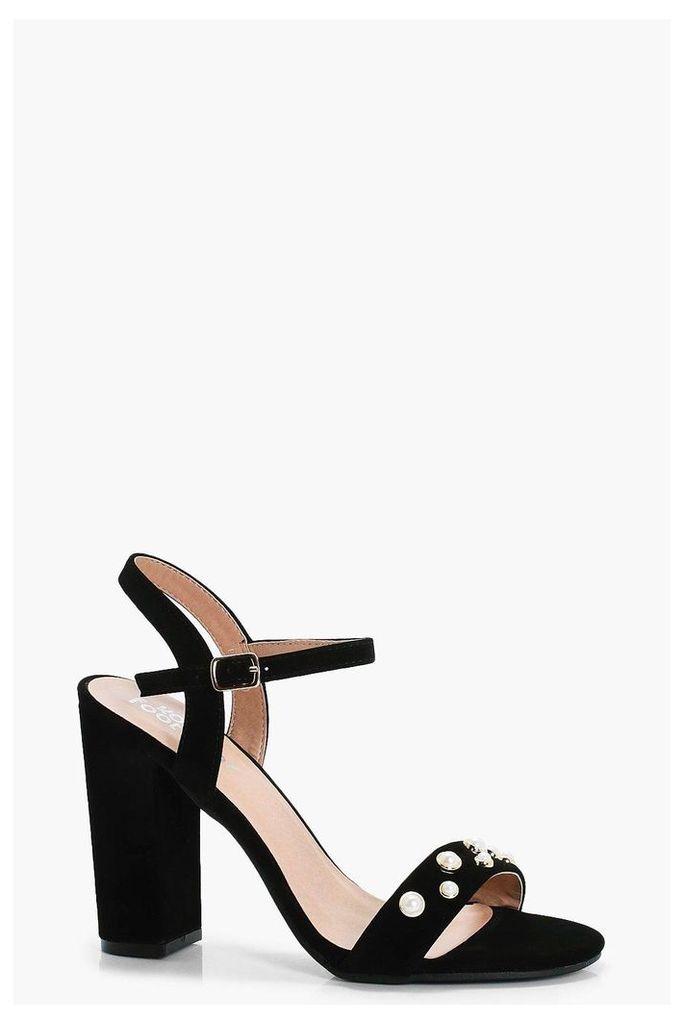 Pearl Strap Block Heels - black