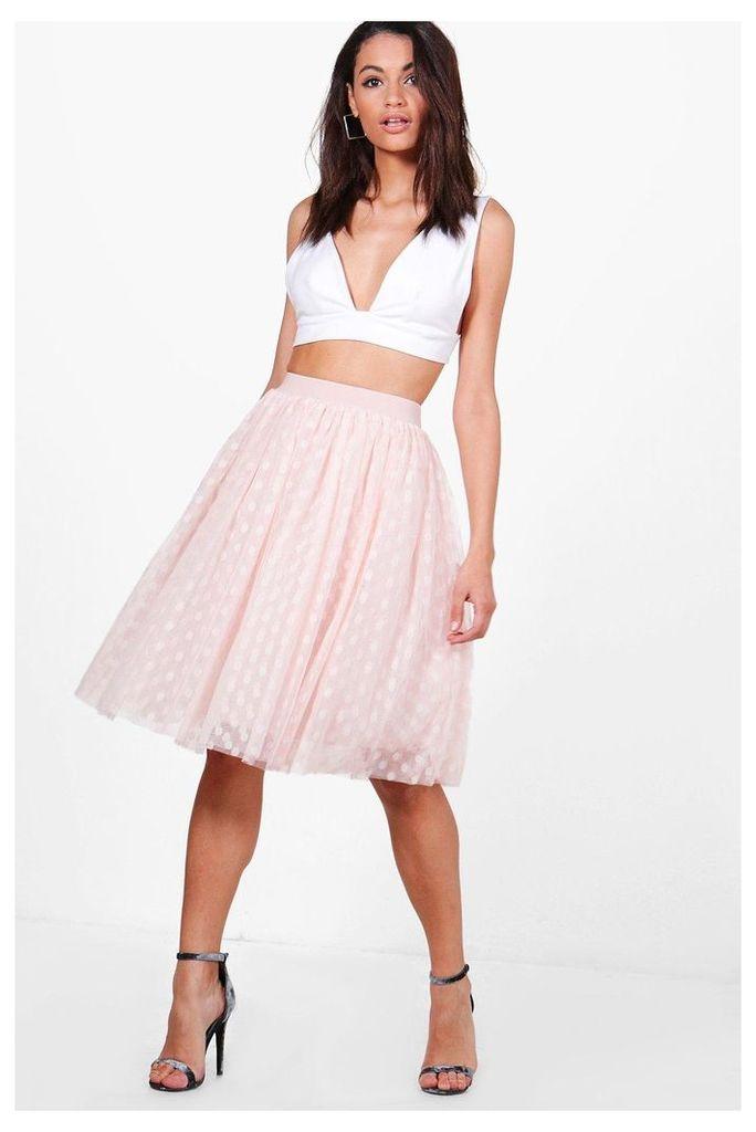 Indira Polka Dot Tulle Full Midi Skirt - rose