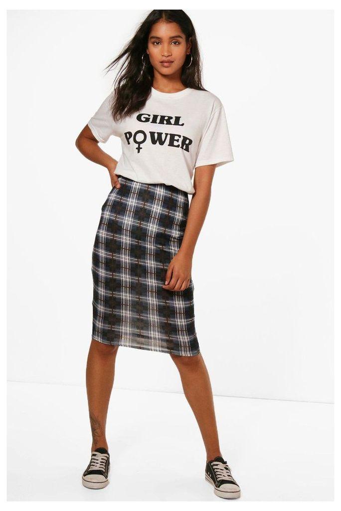 Tartan Check Basic Jersey Midi Skirt - navy