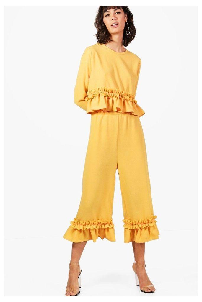 Ruffle Hem Woven Trouser - mustard