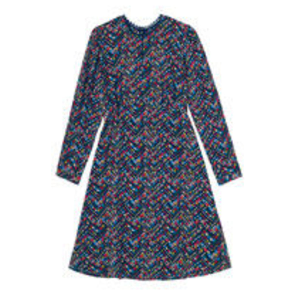 Zigzag Floral Silk Tea Dress