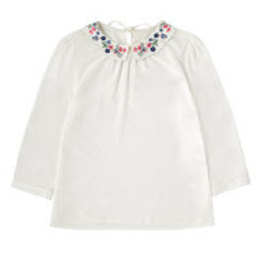 Embroidered Viscose Collar Blouse