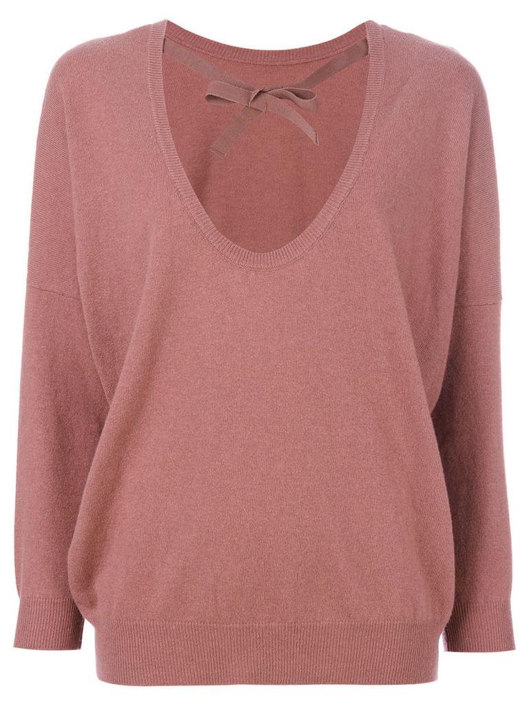Semicouture - U-neck sweater - women - Polyamide/Lyocell/Cashmere/Virgin Wool - XS, Pink/Purple
