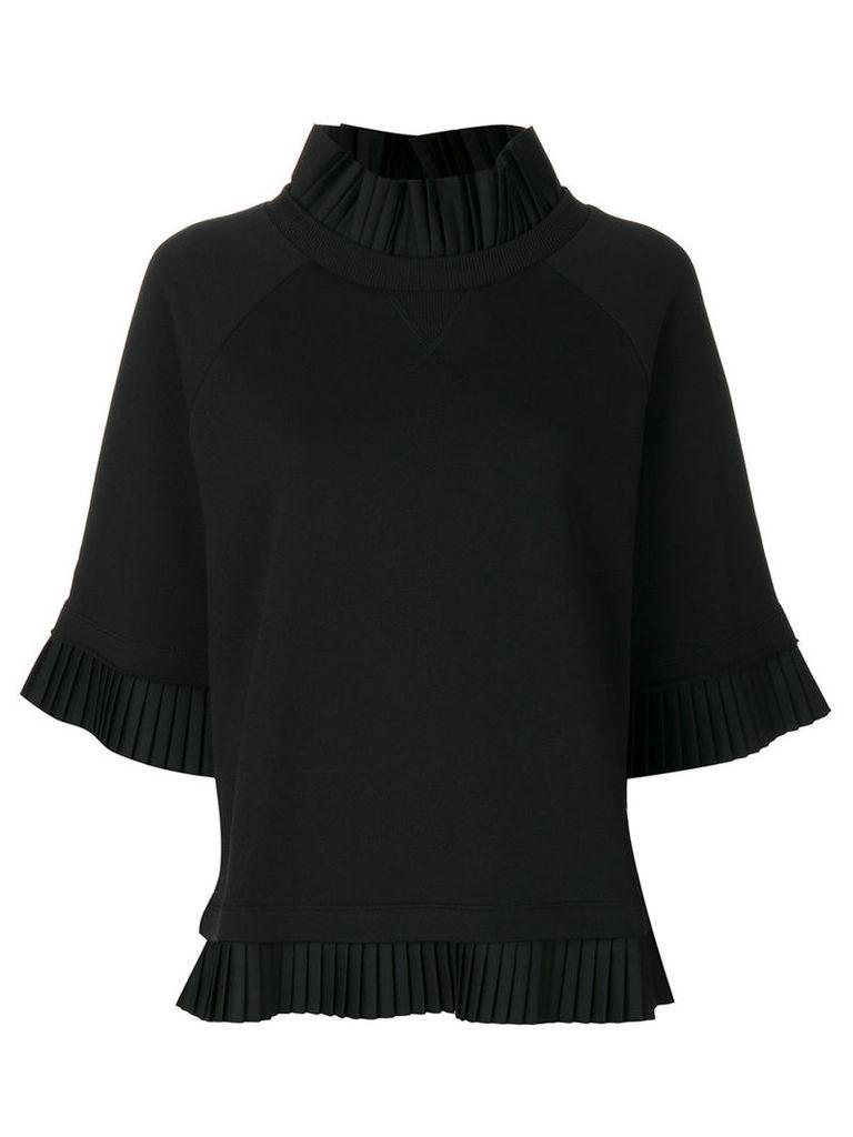 Mm6 Maison Margiela - pleated detail sweatshirt - women - Cotton - L, Black