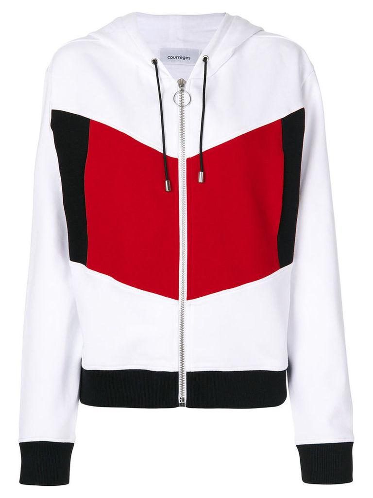 Courrèges - block colour hoodie - women - Cotton - 2, White