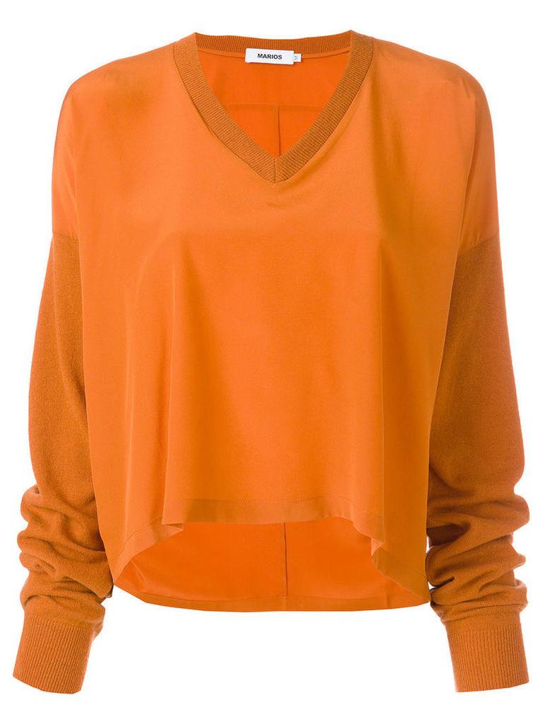Marios - V-neck loose top - women - Silk/Wool - L, Yellow/Orange