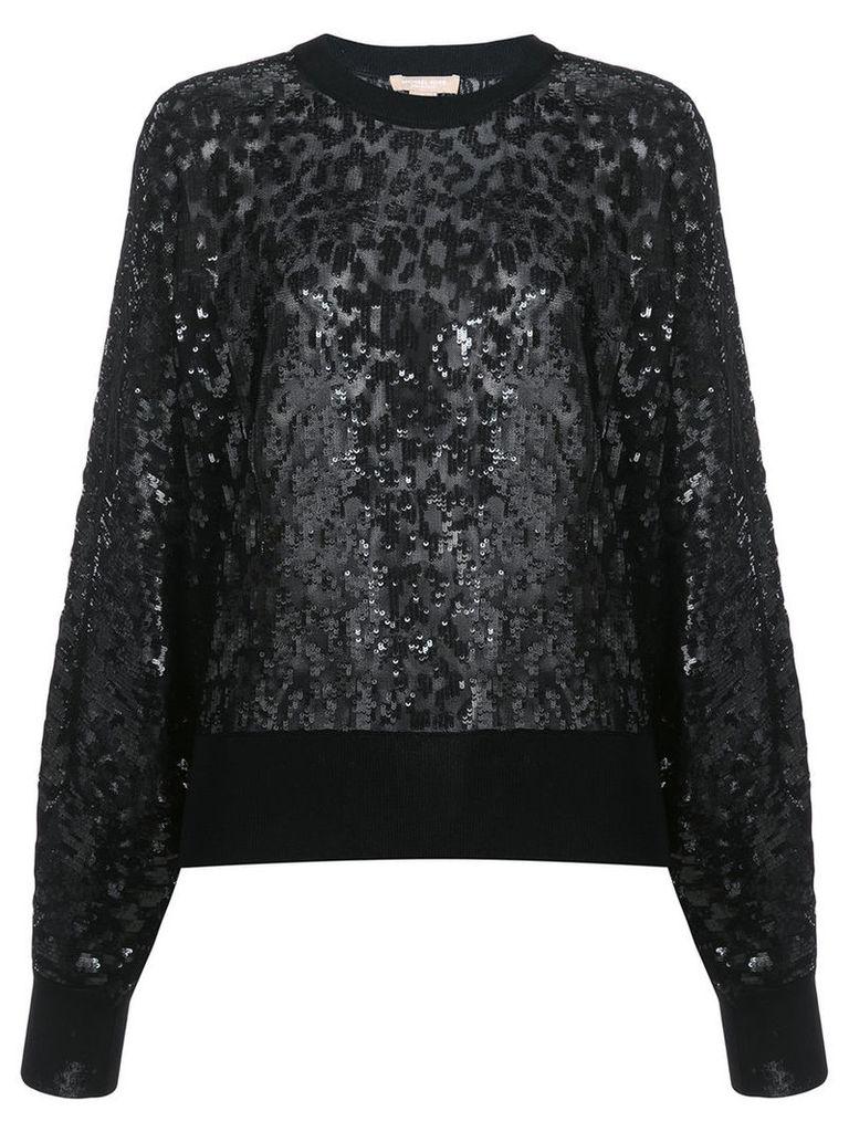 Michael Kors - sequen leopard pattern sweatshirt - women - Viscose - M, Black