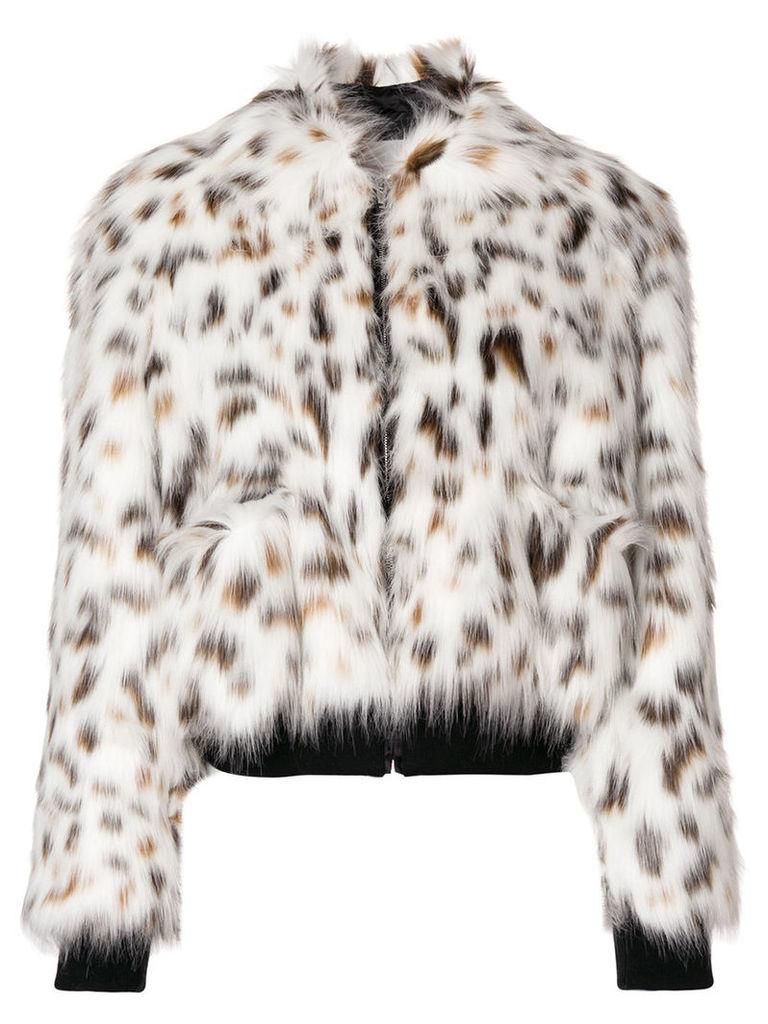 MSGM - faux fur bomber jacket - women - Cotton/Modacrylic/Polyamide/Polyester - 40, White