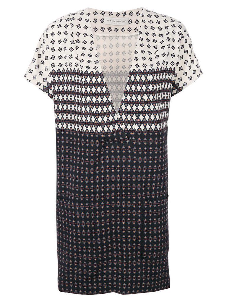 Etro - v-neck shortsleeved dress - women - Spandex/Elastane/Wool - 44