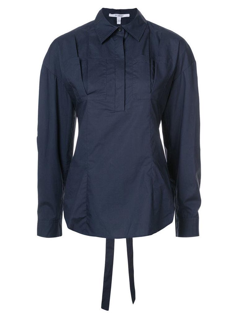 Derek Lam 10 Crosby - Long Sleeve Lace-Up Back Shirt - women - Cotton - 10, Blue