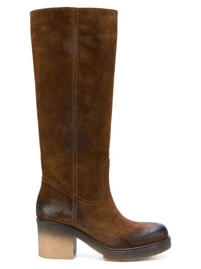 Fausto Zenga - calf boots - women - Leather/Nubuck Leather/rubber - 36, Brown