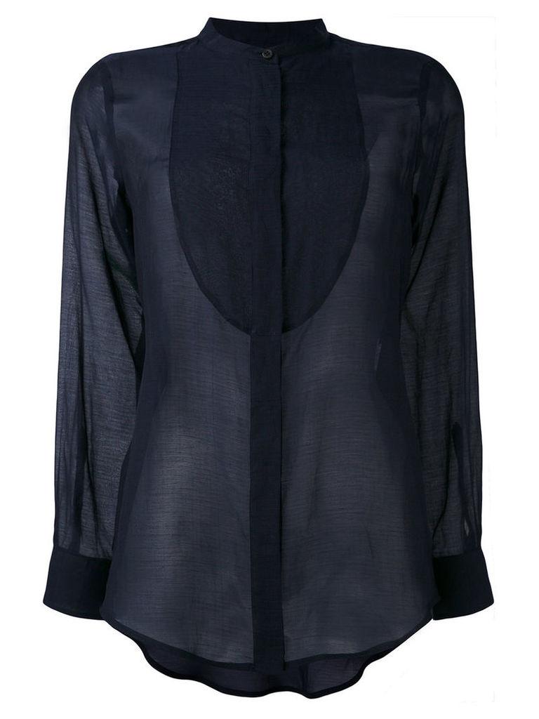 Alberto Biani - sheer bib shirt - women - Silk/Cotton - 44, Blue