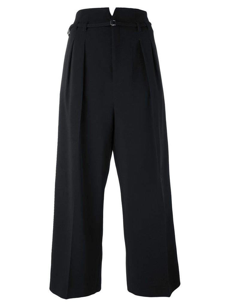Red Valentino - pleated cropped trousers - women - Spandex/Elastane/Acetate/Viscose/Wool - 40, Black