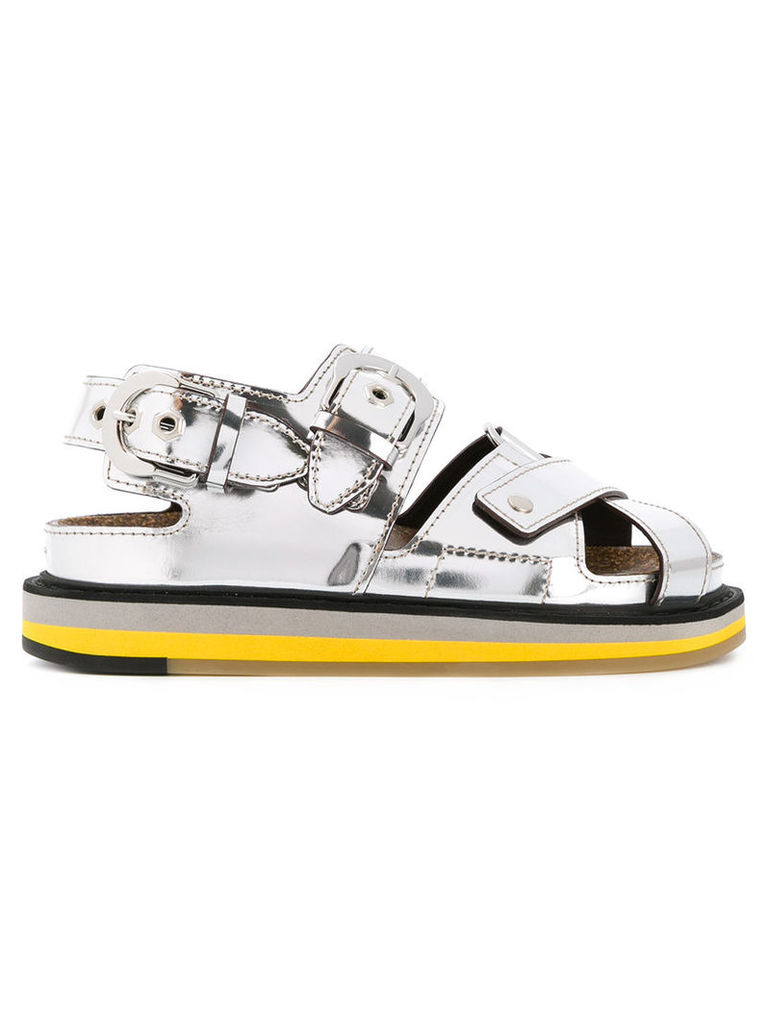 Maison Margiela - open toe buckled sandals - women - Leather/rubber - 41, Grey