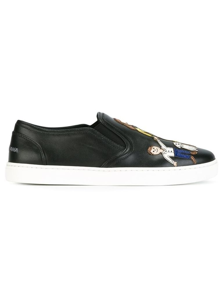 Dolce & Gabbana - Family patch slip-on sneakers - women - Calf Leather/Leather/rubber - 35, Black