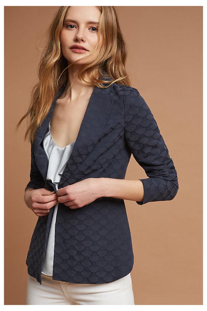 Bobbie Jacquard Blazer, Blue - Navy, Size Uk12