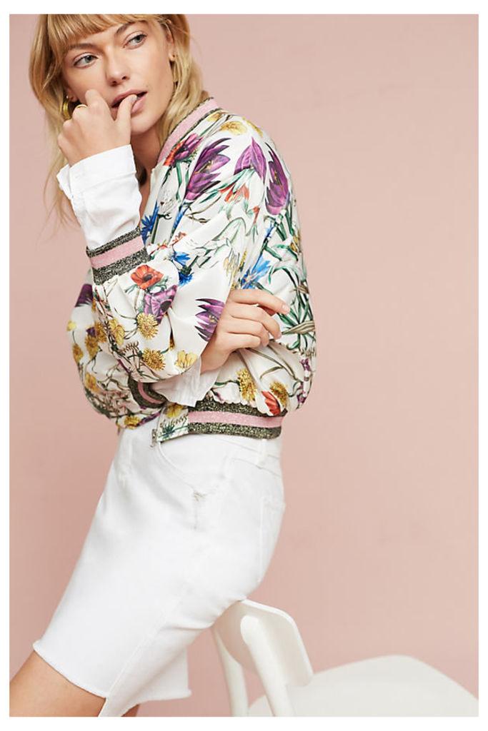 Rubie Floral Bomber Jacket, White - Green Motif, Size M