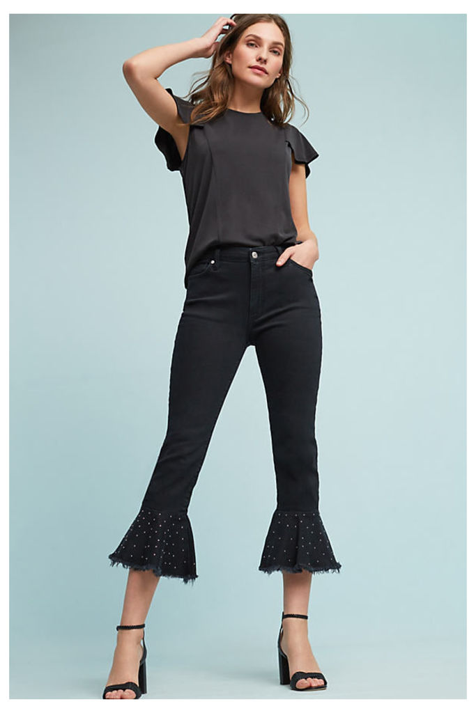 Pilcro Embroidered High-Rise Flounced Jeans - Black, Size 31