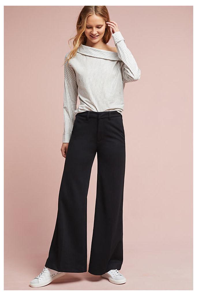 Walton Wide-Leg Trousers, Black - Black, Size 26