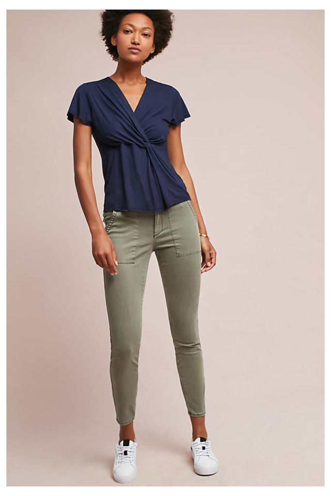 Slim Utility Cargo Trousers - Moss, Size 26