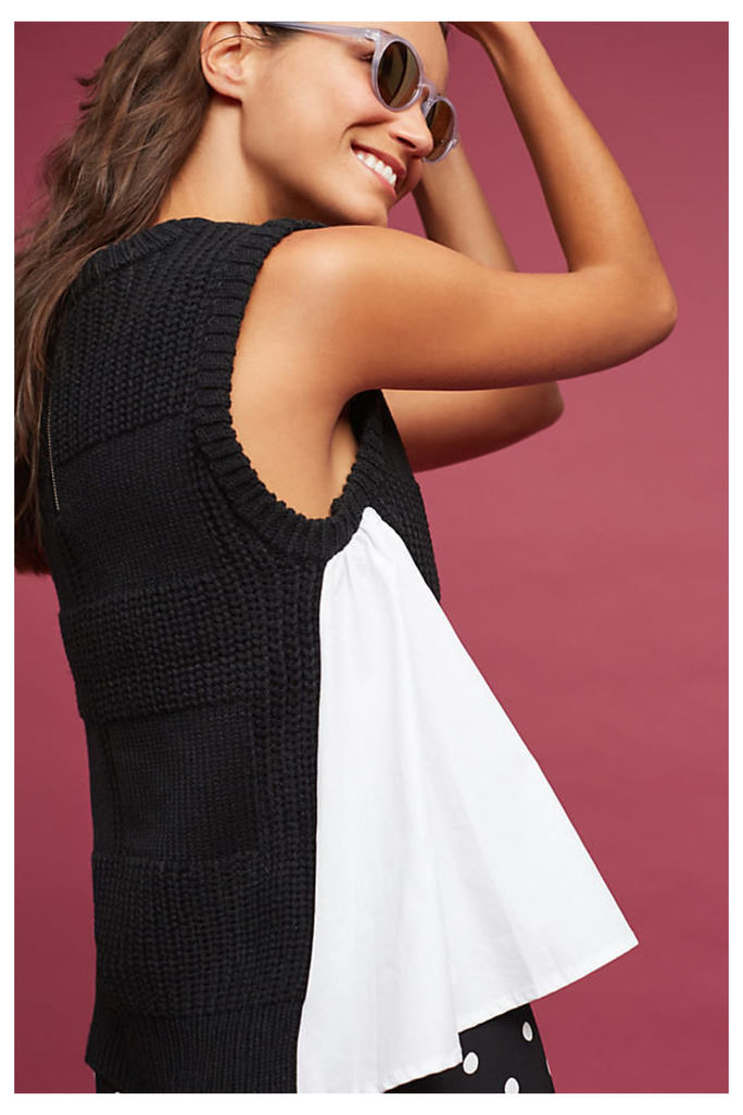 Stassia Two-Toned Top, Black - Black, Size S