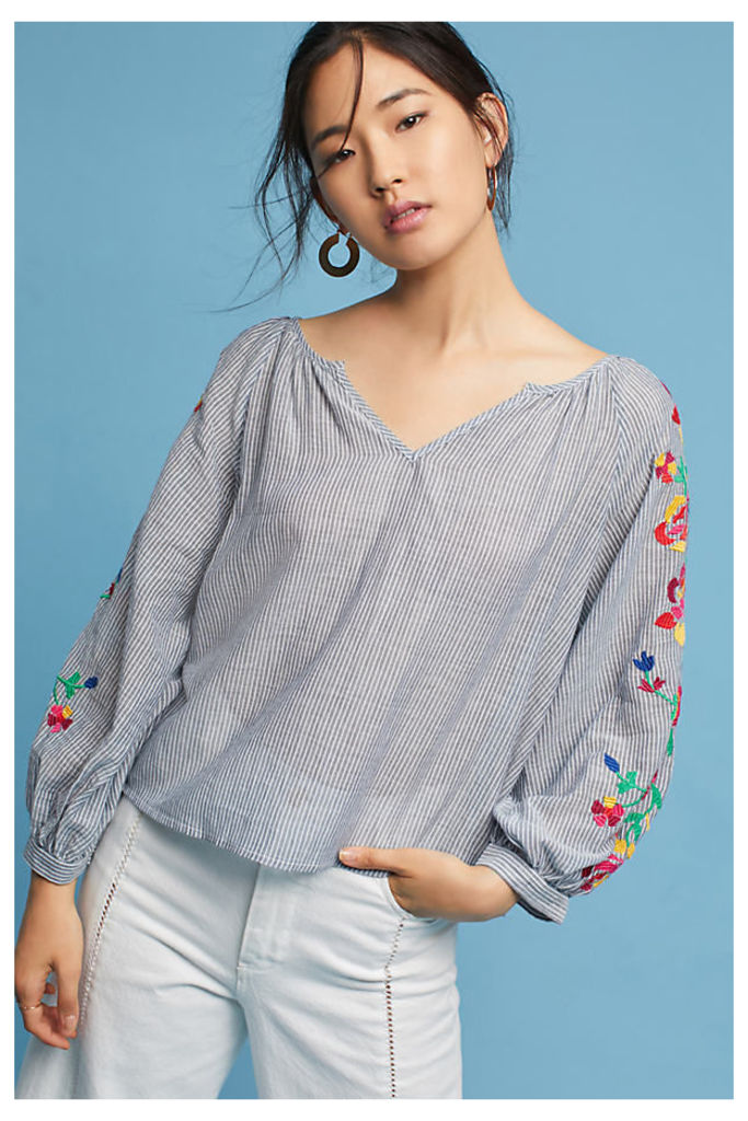Embroidered Soleil Top, Silver - Silver, Size S