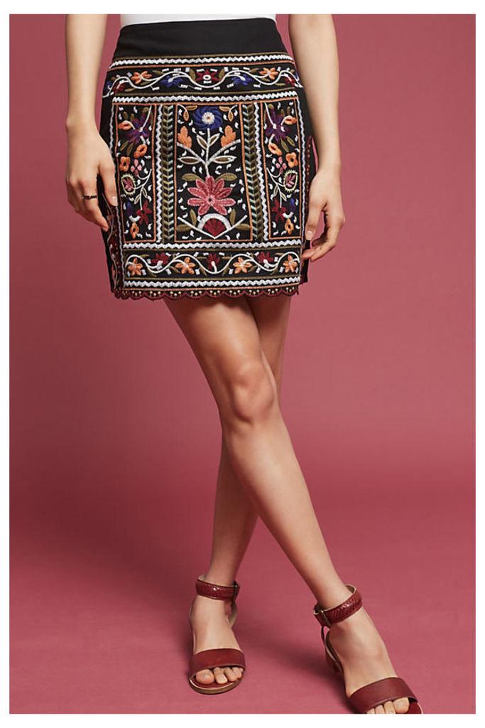 Tayla Embroidered Mini Skirt, Black - Black Motif, Size S