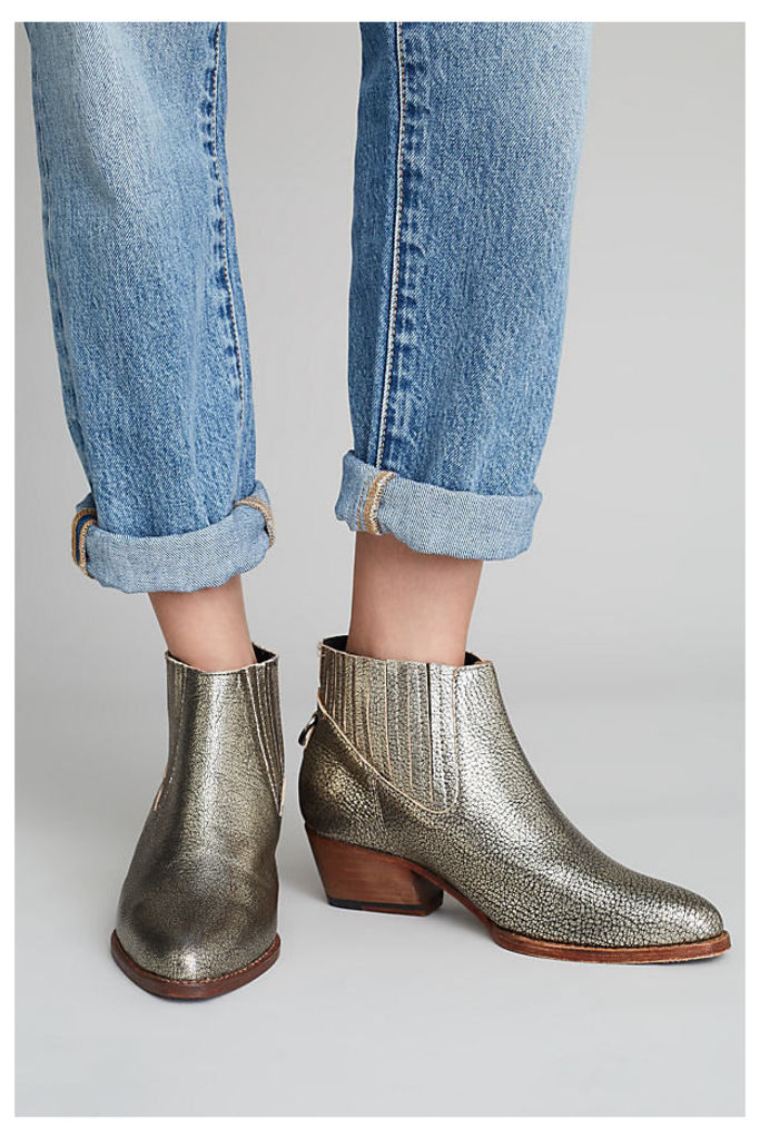 Katerina Leather Ankle Boots - Gold, Size 37