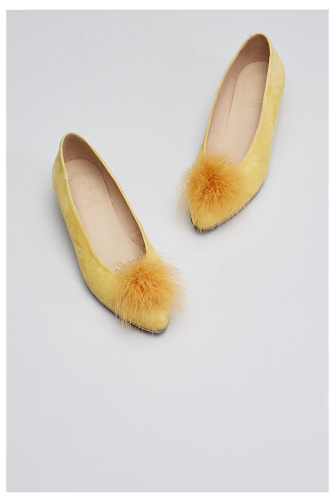Kara Feather Pom Heels - Yellow, Size 41