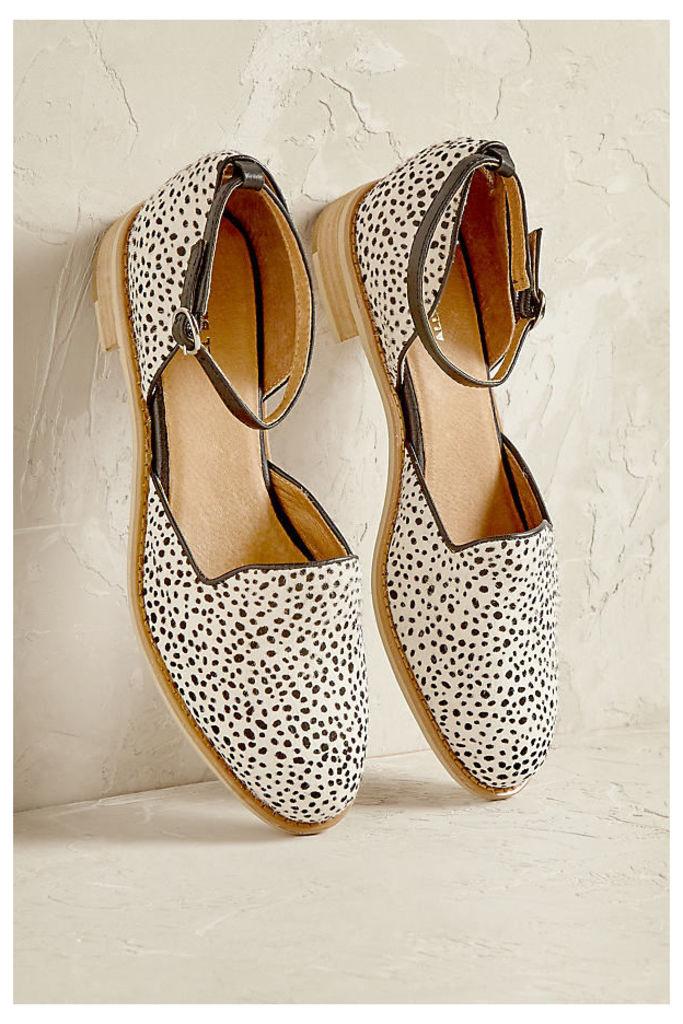 Madelyn Ankle-Strap Flats - Black & White, Size 40