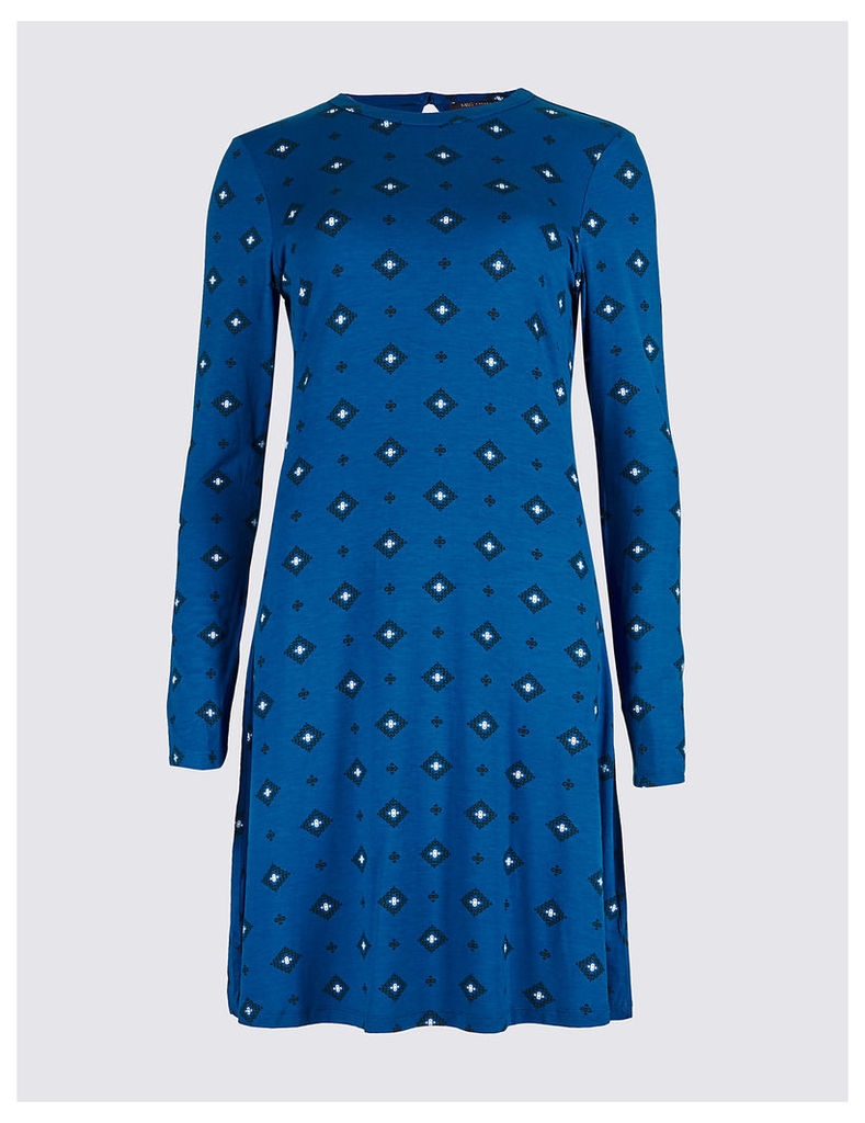 M&S Collection Printed Long Sleeve Skater Dress