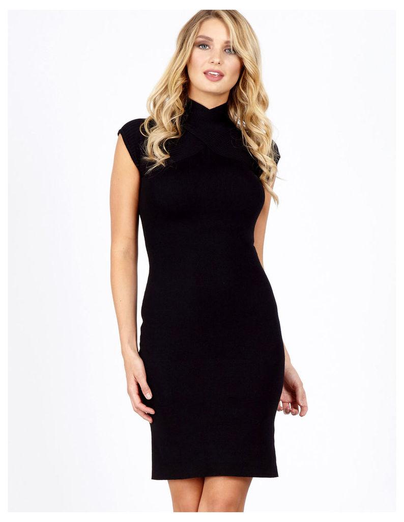 LEVIA - Twist Front Rib Black Dress