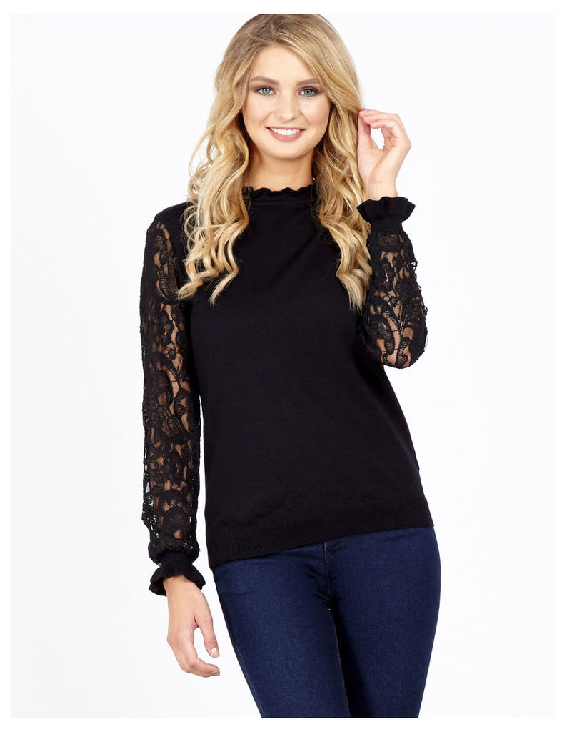 AFRICA - Lace Sleeve Frill Neck Black Knitted Top