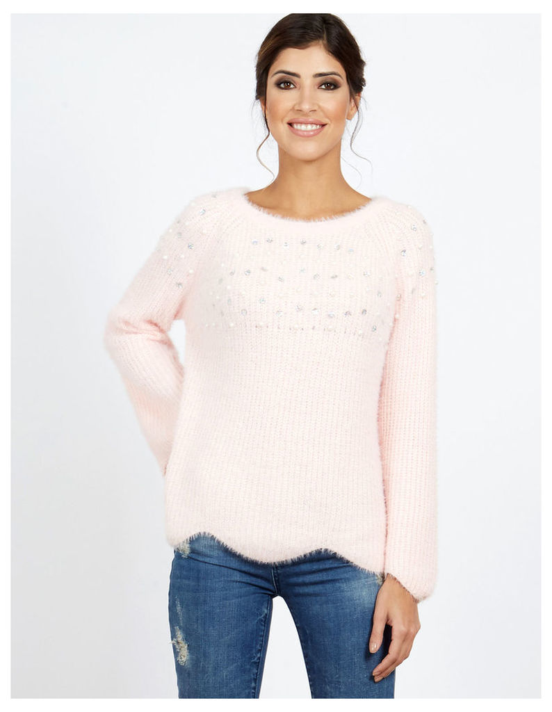 VENUSA - Pearl And Sequin Scallop Pink Jumper
