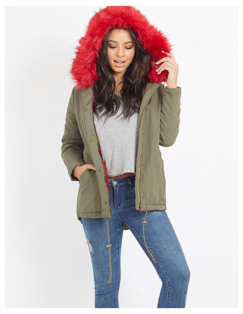 MENCIA - Faux Fur Parka Jacket